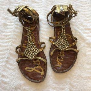 Sam Edelman gladiator sandals in gold w beadwork